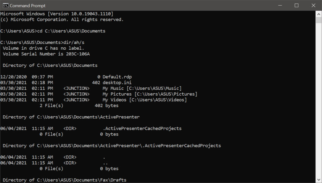 view hidden files using command prompt