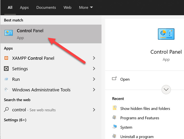 see hidden files using control panel