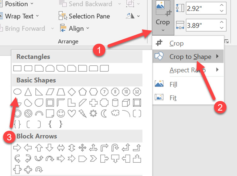 crop images in ms word