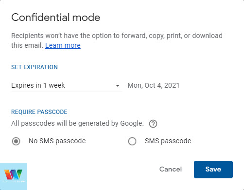 confidential-mode-settings